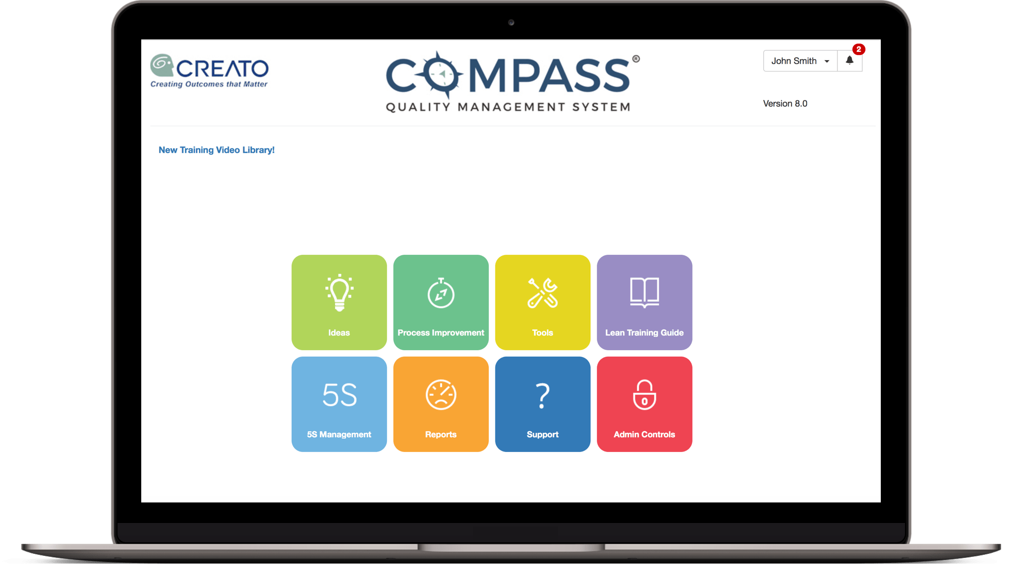 Screenshot of Compass Quality Management System welcome screen