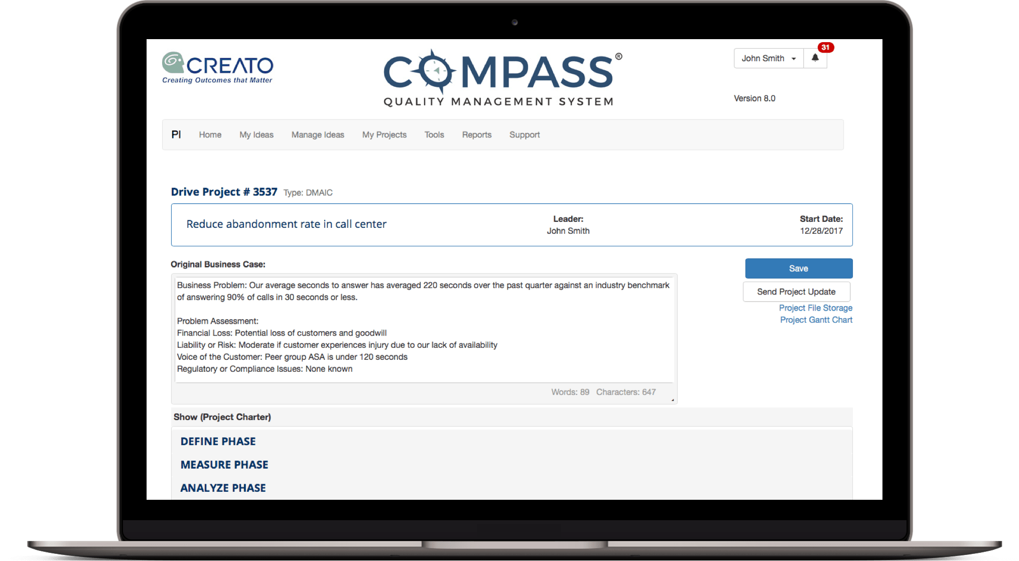 Screenshot of Compass Quality Management System  drive project screen