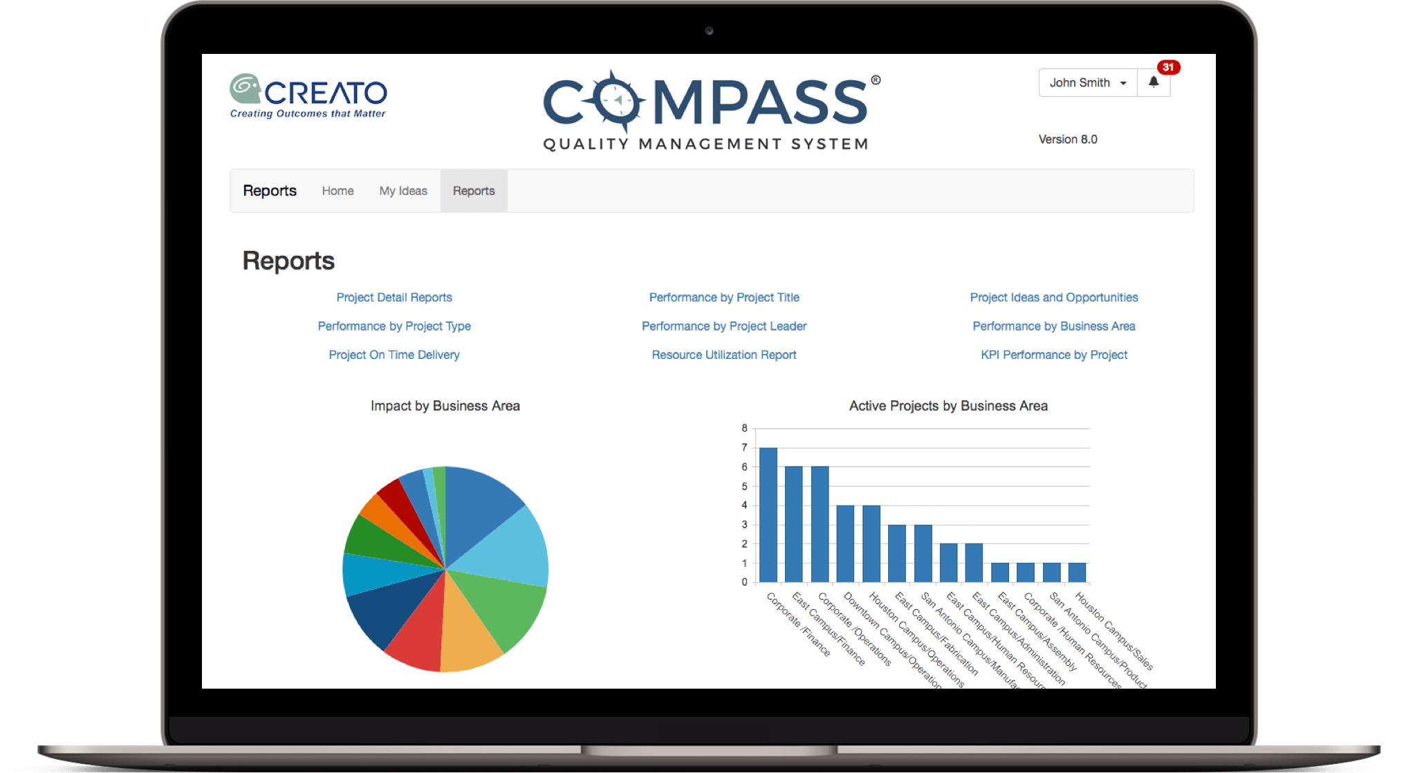 Screenshot of Compass Quality Management System  reporting screen